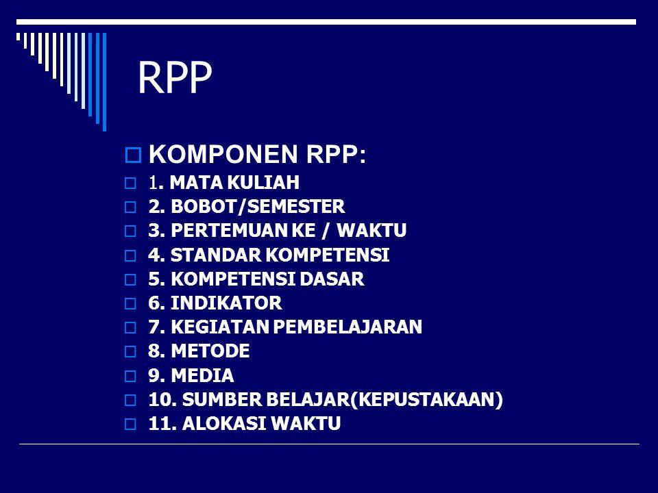 RPP  KOMPONEN RPP:  1. MATA KULIAH  2. BOBOT/SEMESTER  3. PERTEMUAN KE / WAKTU  4. STANDAR KOMPETENSI  5. KOMPETENSI DASAR  6. INDIKATOR  7. K