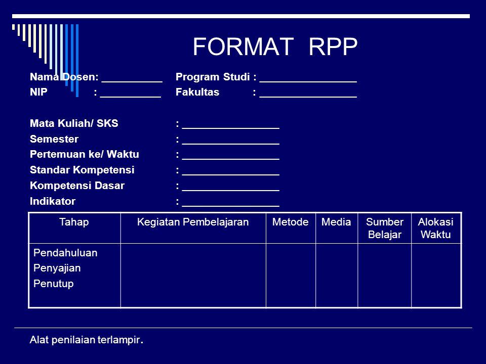 FORMAT RPP Nama Dosen: __________Program Studi : ________________ NIP : __________Fakultas : ________________ Mata Kuliah/ SKS: ________________ Semes