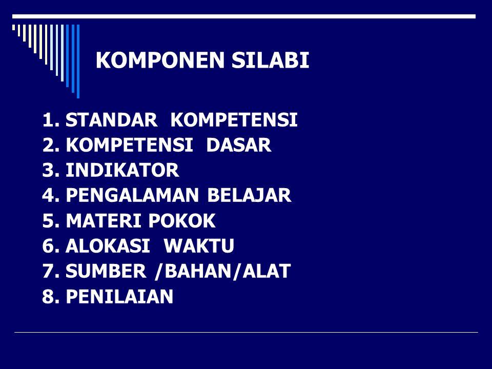KOMPONEN SILABI 1. STANDAR KOMPETENSI 2. KOMPETENSI DASAR 3. INDIKATOR 4. PENGALAMAN BELAJAR 5. MATERI POKOK 6. ALOKASI WAKTU 7. SUMBER /BAHAN/ALAT 8.
