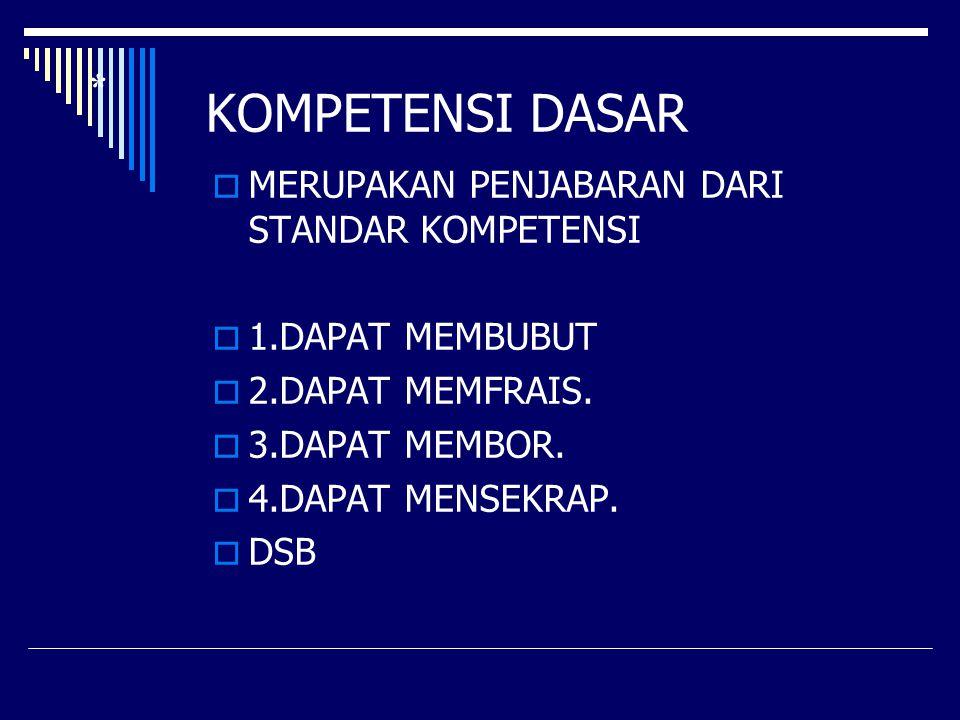 * KOMPETENSI DASAR  MERUPAKAN PENJABARAN DARI STANDAR KOMPETENSI  1.DAPAT MEMBUBUT  2.DAPAT MEMFRAIS.  3.DAPAT MEMBOR.  4.DAPAT MENSEKRAP.  DSB
