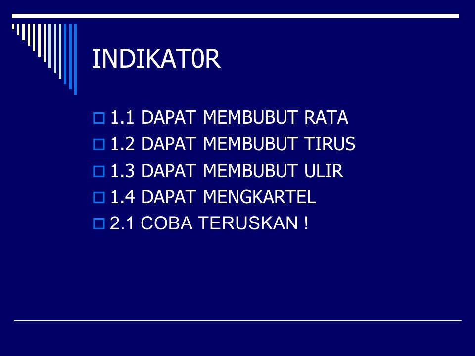 INDIKAT0R  1.1 DAPAT MEMBUBUT RATA  1.2 DAPAT MEMBUBUT TIRUS  1.3 DAPAT MEMBUBUT ULIR  1.4 DAPAT MENGKARTEL  2.1 COBA TERUSKAN !