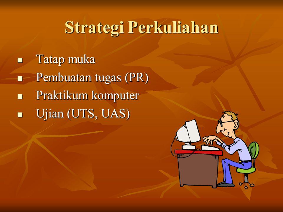 Strategi Perkuliahan Tatap muka Tatap muka Pembuatan tugas (PR) Pembuatan tugas (PR) Praktikum komputer Praktikum komputer Ujian (UTS, UAS) Ujian (UTS