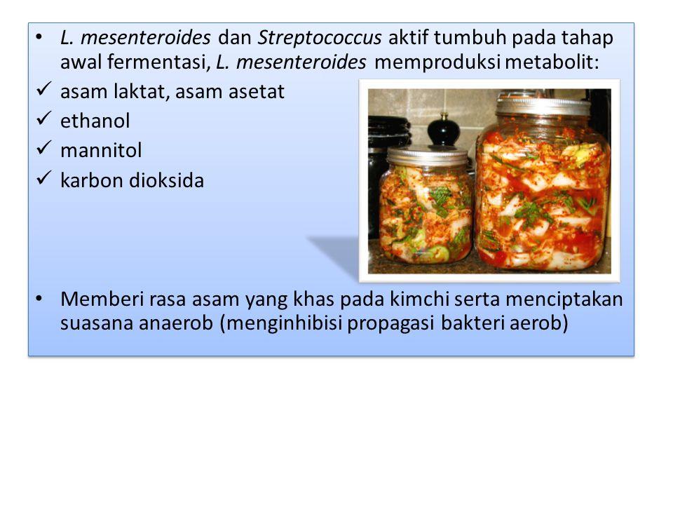 L.mesenteroides dan Streptococcus aktif tumbuh pada tahap awal fermentasi, L.