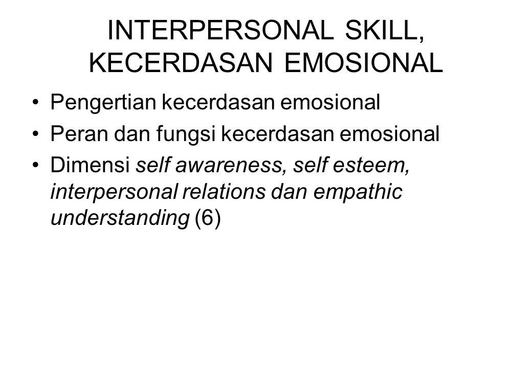 INTERPERSONAL SKILL, KECERDASAN EMOSIONAL Pengertian kecerdasan emosional Peran dan fungsi kecerdasan emosional Dimensi self awareness, self esteem, i