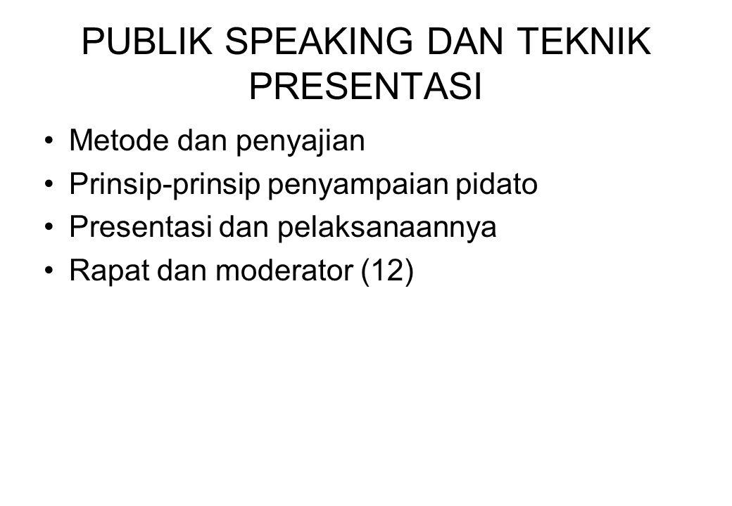 PUBLIK SPEAKING DAN TEKNIK PRESENTASI Metode dan penyajian Prinsip-prinsip penyampaian pidato Presentasi dan pelaksanaannya Rapat dan moderator (12)