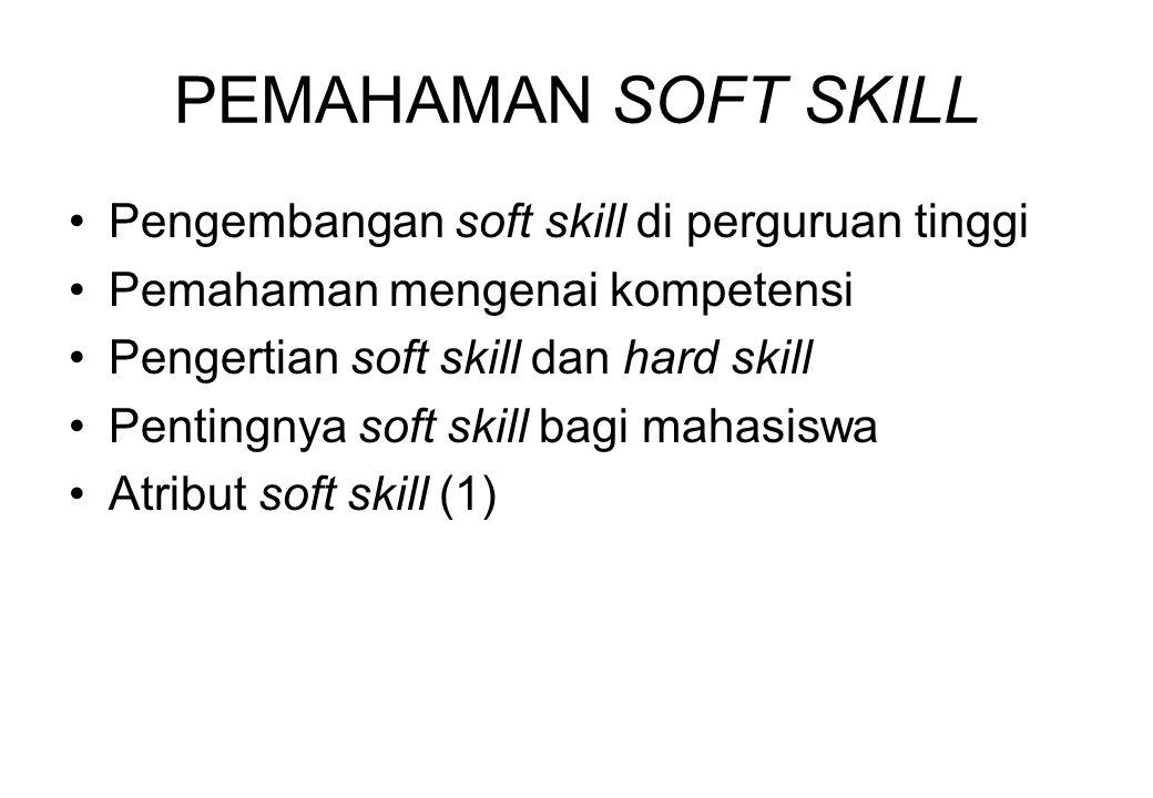 PEMAHAMAN SOFT SKILL Pengembangan soft skill di perguruan tinggi Pemahaman mengenai kompetensi Pengertian soft skill dan hard skill Pentingnya soft sk