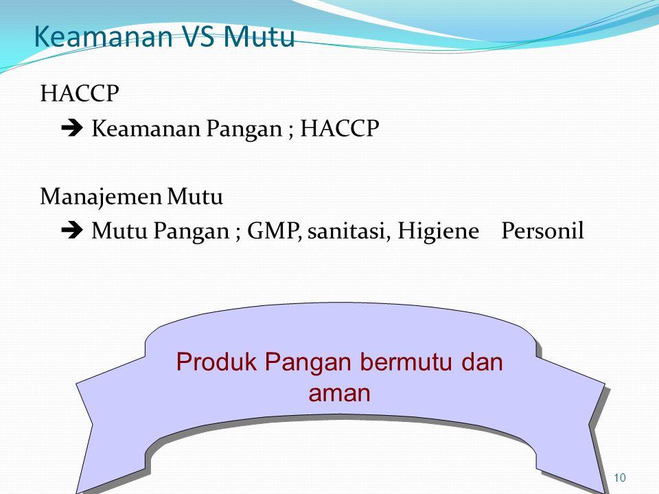 Apa itu HACCP Hazard Analysis : Analisis potensi bahaya And : Critical Control Point : Titik kendali kritis 11 Fungsi HACCP Mencagah timbulnya ancaman/bahaya pd produk makanan sedini mungkin yg mencakup : Penanaman/budidaya  Pemanenan  pengolahan  distribusi  penyajian dan konsumsi