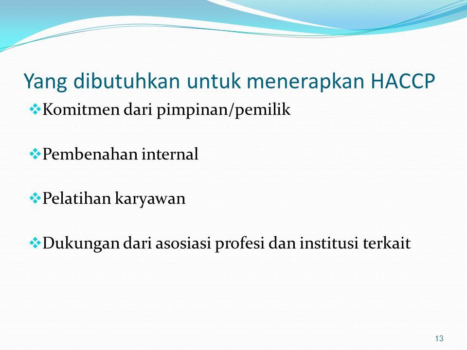 Prasyarat penerapan HACCP 14 Jaminan keamanan makanan HACCP Sanitasi dan Higiene personil Cara pengolahan makanan yang baik Bahan Mentah, Pengolahan, Penyajian Air Bersih, Cuci Tangan, Limbah Fasilitas, bangunan, peralatan .