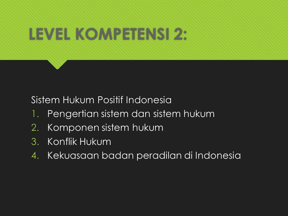 LEVEL KOMPETENSI 2: Sistem Hukum Positif Indonesia 1.Pengertian sistem dan sistem hukum 2.Komponen sistem hukum 3.Konflik Hukum 4.Kekuasaan badan pera