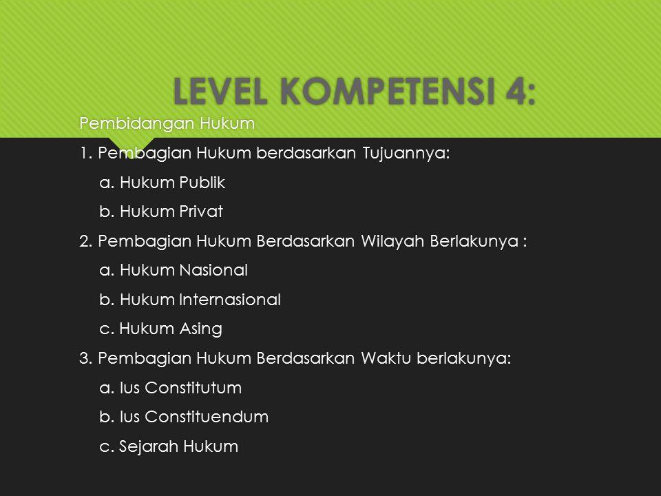 LEVEL KOMPETENSI 4: Pembidangan Hukum 1. Pembagian Hukum berdasarkan Tujuannya: a. Hukum Publik b. Hukum Privat 2. Pembagian Hukum Berdasarkan Wilayah