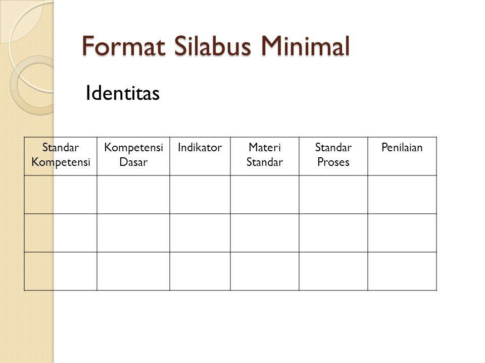 Format Silabus Minimal Identitas Standar Kompetensi Kompetensi Dasar IndikatorMateri Standar Standar Proses Penilaian