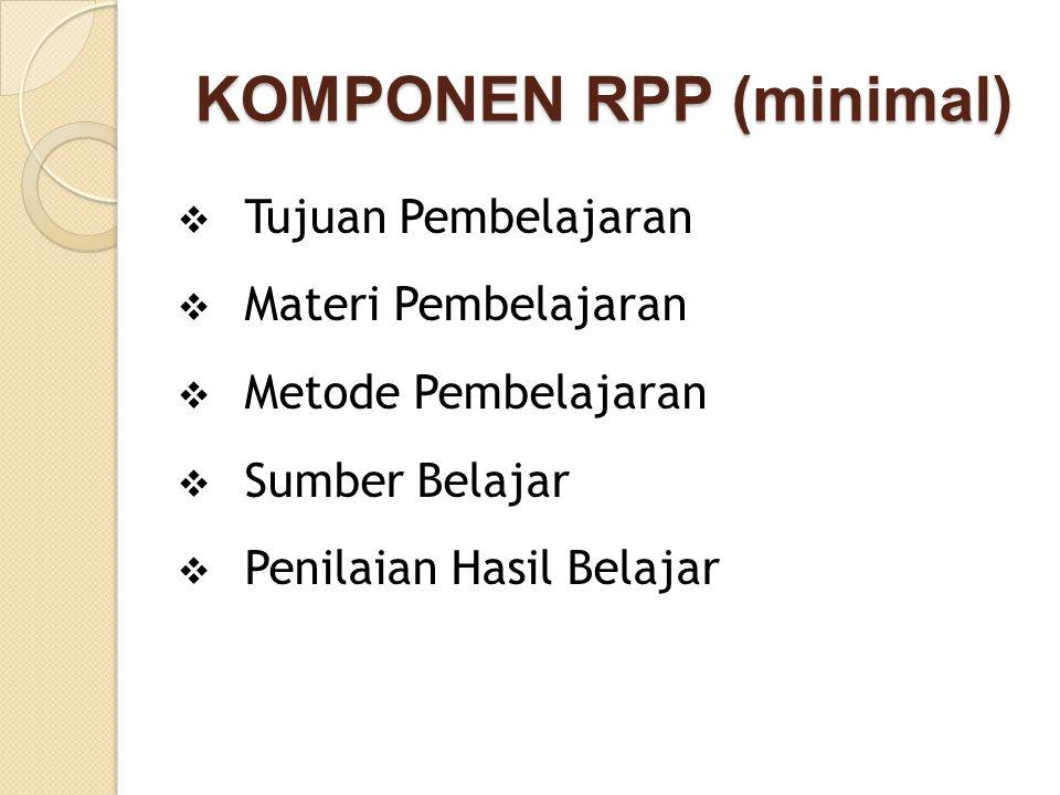 KOMPONEN RPP (minimal) KOMPONEN RPP (minimal)  Tujuan Pembelajaran  Materi Pembelajaran  Metode Pembelajaran  Sumber Belajar  Penilaian Hasil Bel