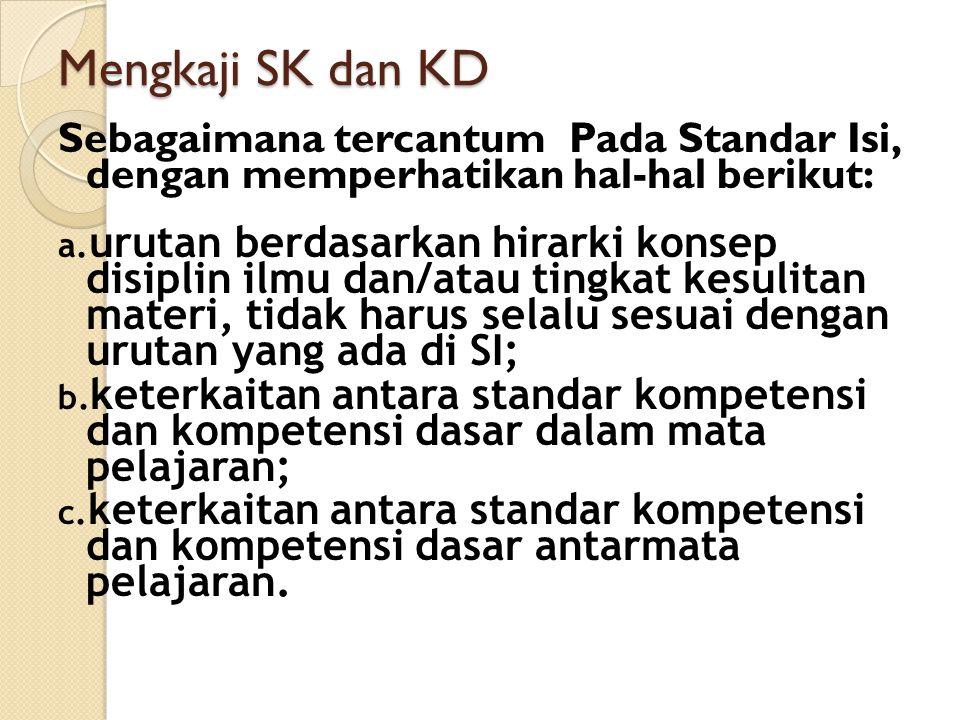 Mengkaji SK dan KD Sebagaimana tercantum Pada Standar Isi, dengan memperhatikan hal-hal berikut: a. urutan berdasarkan hirarki konsep disiplin ilmu da