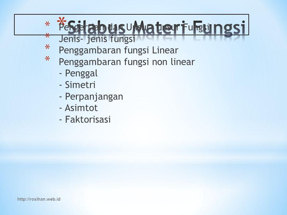 http://rosihan.web.id * Pengertian dan Unsur- unsur Fungsi * Jenis- jenis fungsi * Penggambaran fungsi Linear * Penggambaran fungsi non linear - Penggal - Simetri - Perpanjangan - Asimtot - Faktorisasi