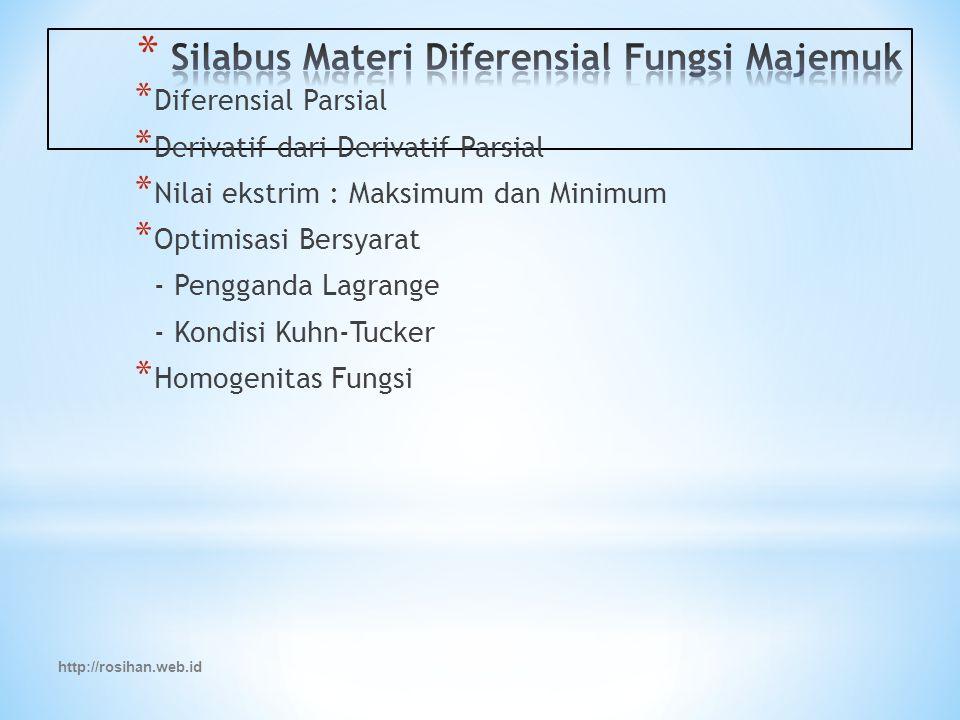 http://rosihan.web.id * Diferensial Parsial * Derivatif dari Derivatif Parsial * Nilai ekstrim : Maksimum dan Minimum * Optimisasi Bersyarat - Pengganda Lagrange - Kondisi Kuhn-Tucker * Homogenitas Fungsi