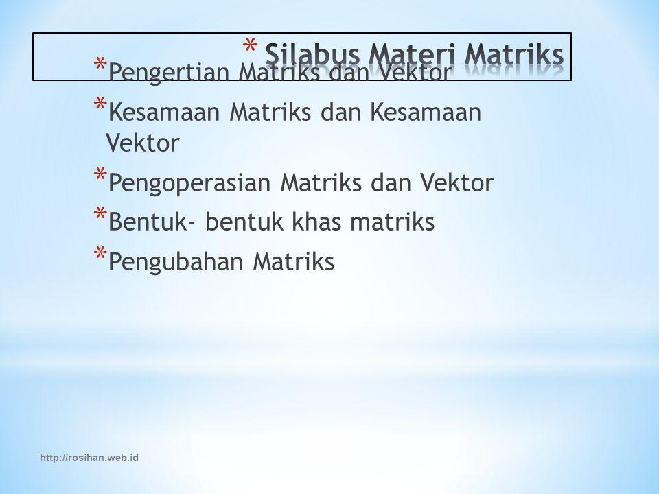 http://rosihan.web.id * Pengertian Matriks dan Vektor * Kesamaan Matriks dan Kesamaan Vektor * Pengoperasian Matriks dan Vektor * Bentuk- bentuk khas matriks * Pengubahan Matriks