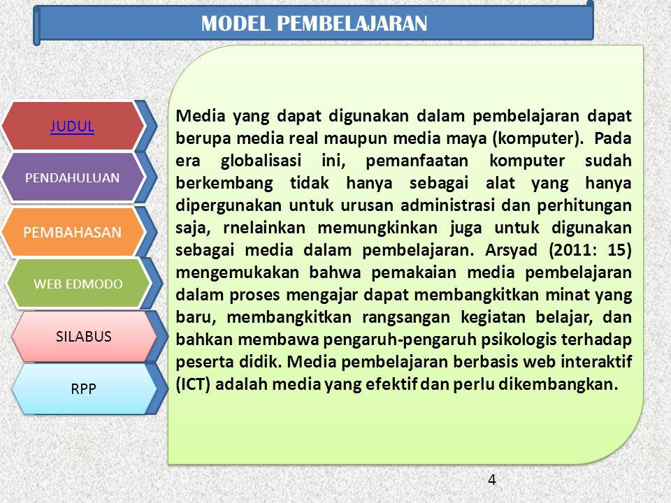 4 JUDUL PENDAHULUAN PEMBAHASAN WEB EDMODO SILABUS RPP MODEL PEMBELAJARAN Media yang dapat digunakan dalam pembelajaran dapat berupa media real maupun