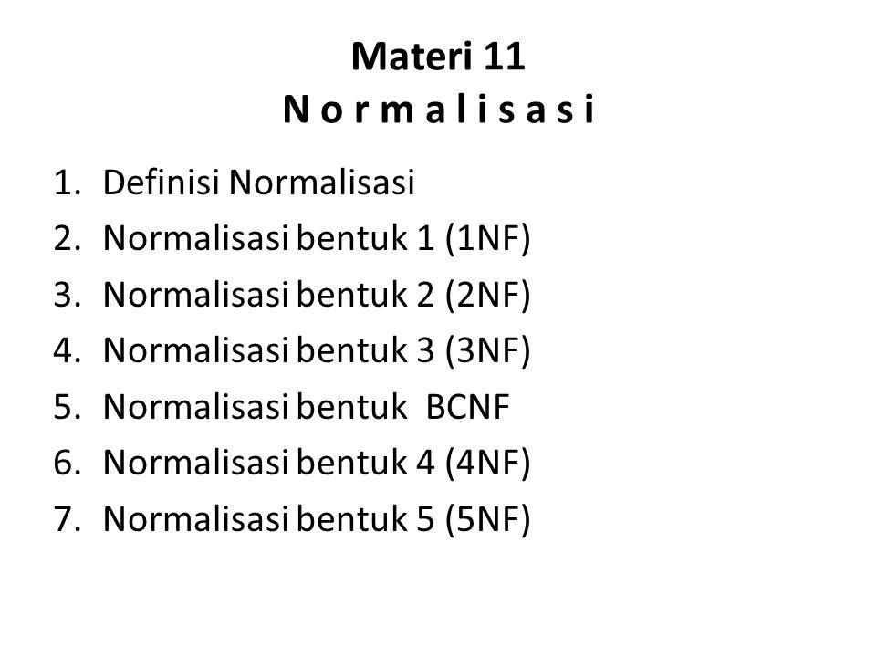 Materi 11 N o r m a l i s a s i 1.Definisi Normalisasi 2.Normalisasi bentuk 1 (1NF) 3.Normalisasi bentuk 2 (2NF) 4.Normalisasi bentuk 3 (3NF) 5.Normal