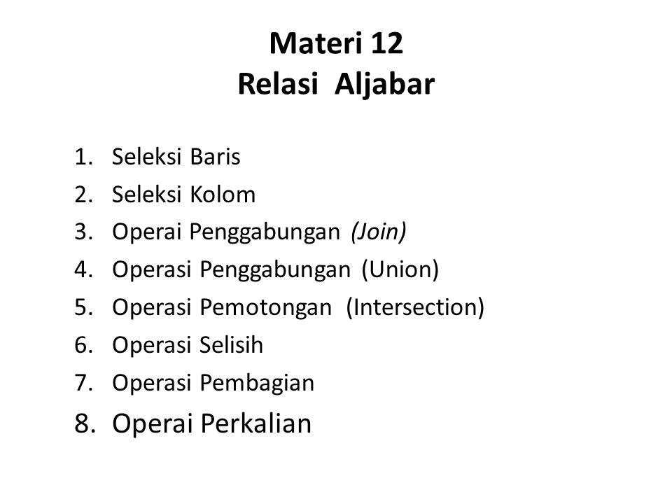 Materi 12 Relasi Aljabar 1.Seleksi Baris 2.Seleksi Kolom 3.Operai Penggabungan (Join) 4.Operasi Penggabungan (Union) 5.Operasi Pemotongan (Intersectio
