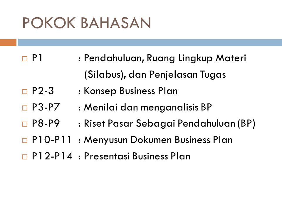 POKOK BAHASAN  P1 : Pendahuluan, Ruang Lingkup Materi (Silabus), dan Penjelasan Tugas  P2-3: Konsep Business Plan  P3-P7: Menilai dan menganalisis