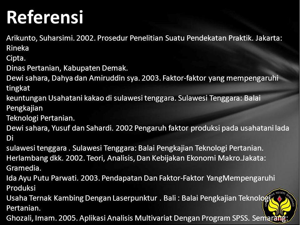 Referensi Arikunto, Suharsimi. 2002. Prosedur Penelitian Suatu Pendekatan Praktik. Jakarta: Rineka Cipta. Dinas Pertanian, Kabupaten Demak. Dewi sahar