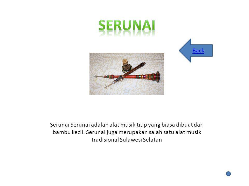 Serunai Serunai adalah alat musik tiup yang biasa dibuat dari bambu kecil.