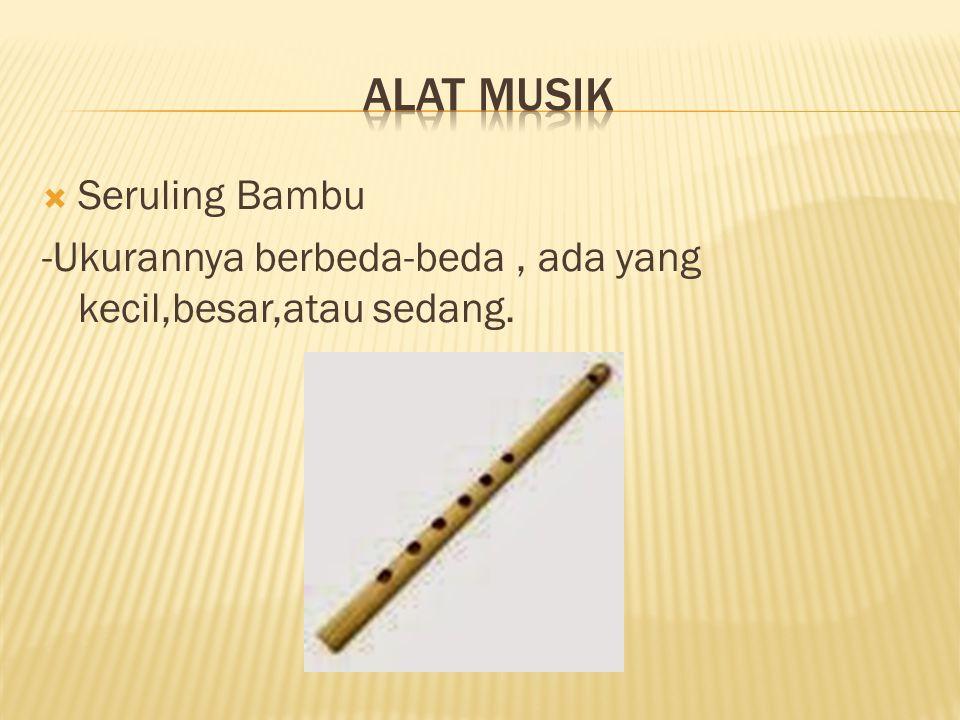  Seruling Bambu -Ukurannya berbeda-beda, ada yang kecil,besar,atau sedang.