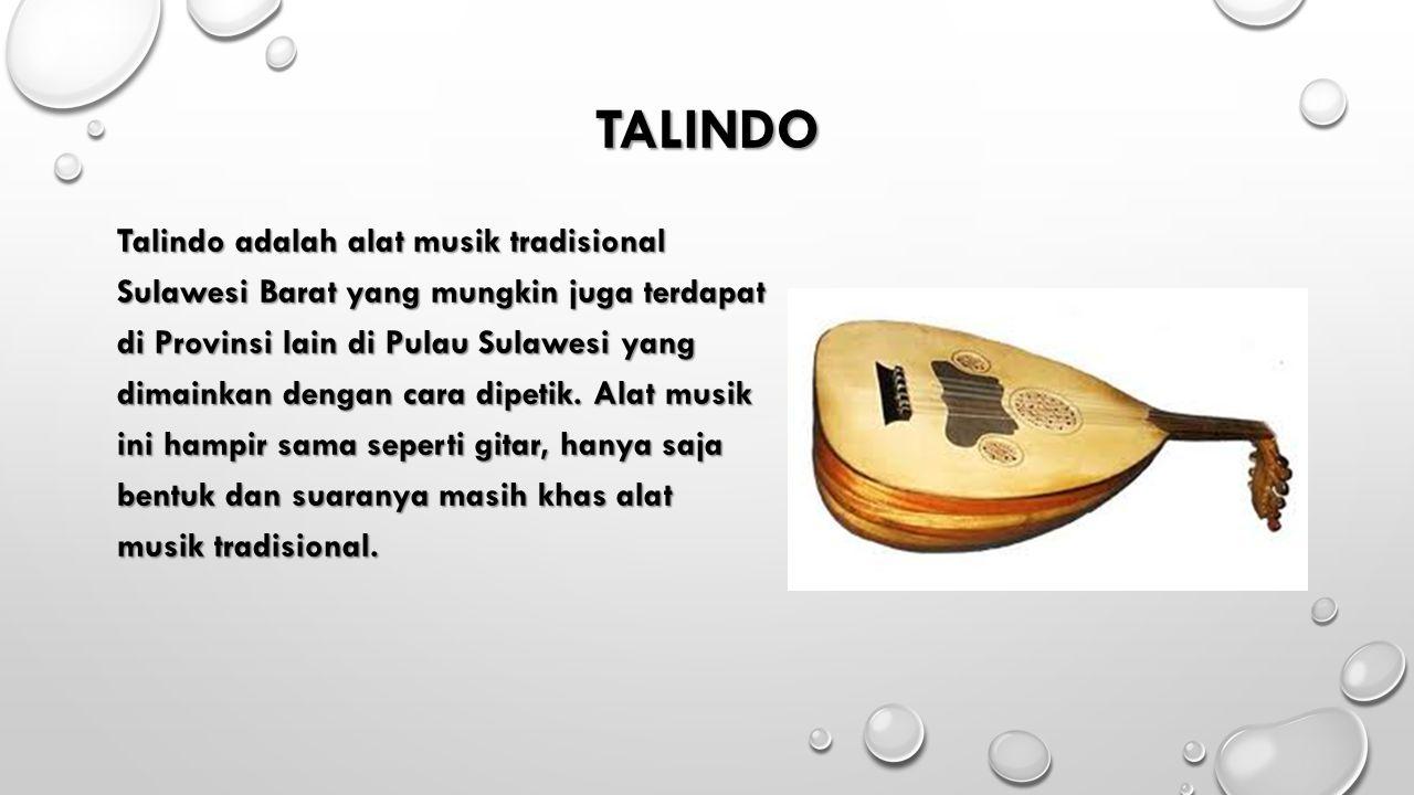 TALINDO Talindo adalah alat musik tradisional Sulawesi Barat yang mungkin juga terdapat di Provinsi lain di Pulau Sulawesi yang dimainkan dengan cara