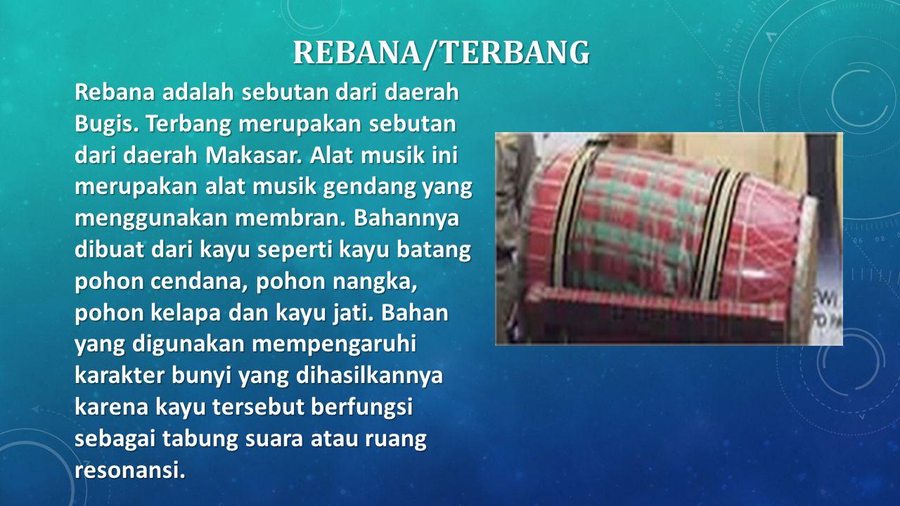 REBANA/TERBANG Rebana adalah sebutan dari daerah Bugis. Terbang merupakan sebutan dari daerah Makasar. Alat musik ini merupakan alat musik gendang yan