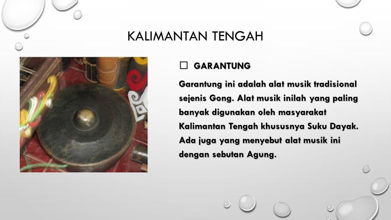 KALIMANTAN TENGAH  GARANTUNG Garantung ini adalah alat musik tradisional sejenis Gong. Alat musik inilah yang paling banyak digunakan oleh masyarakat