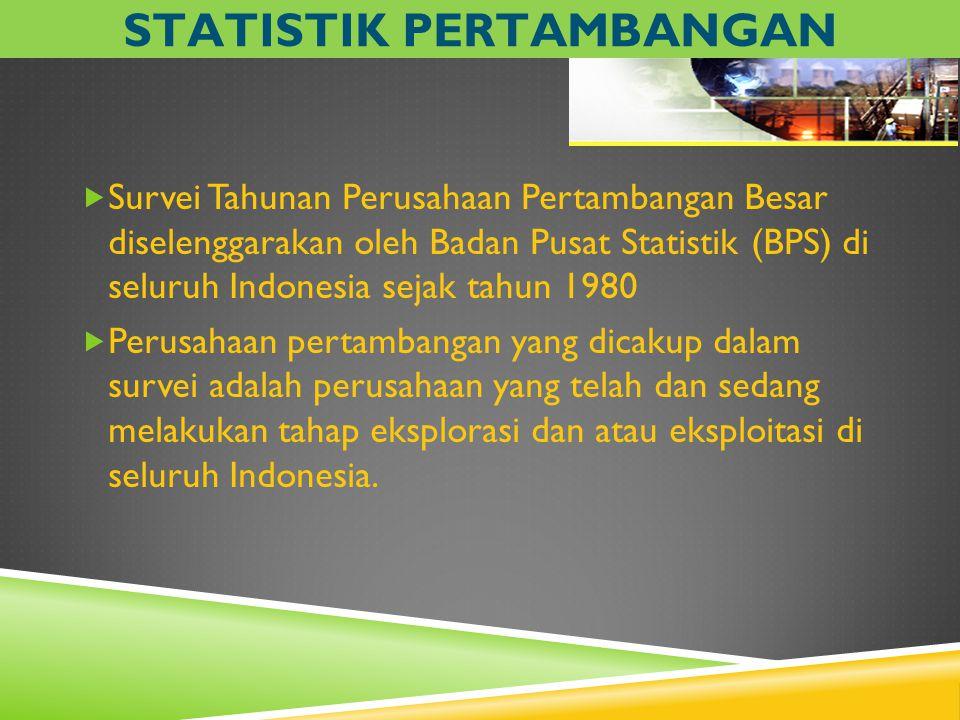  Survei Tahunan Perusahaan Pertambangan Besar diselenggarakan oleh Badan Pusat Statistik (BPS) di seluruh Indonesia sejak tahun 1980  Perusahaan per