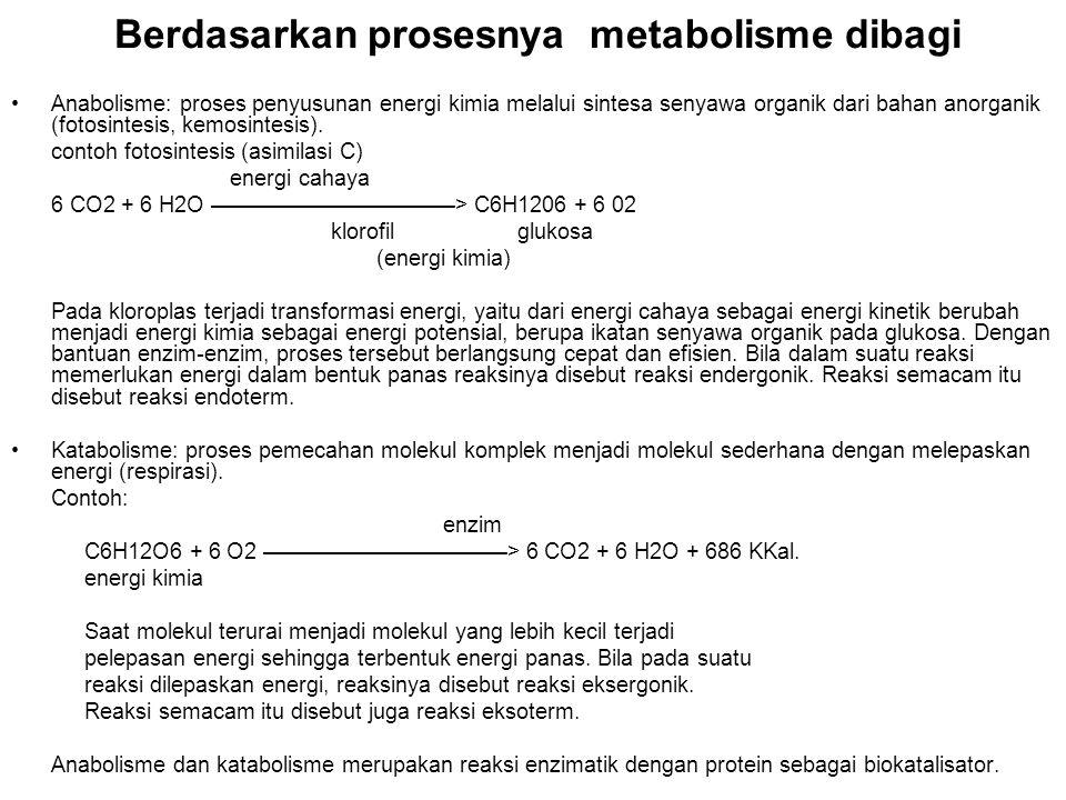 Berdasarkan prosesnya metabolisme dibagi Anabolisme: proses penyusunan energi kimia melalui sintesa senyawa organik dari bahan anorganik (fotosintesis, kemosintesis).
