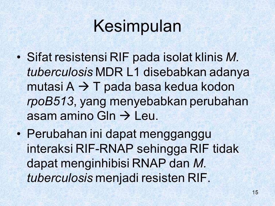15 Kesimpulan Sifat resistensi RIF pada isolat klinis M. tuberculosis MDR L1 disebabkan adanya mutasi A  T pada basa kedua kodon rpoB513, yang menyeb