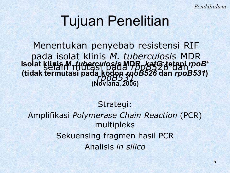 5 Menentukan penyebab resistensi RIF pada isolat klinis M. tuberculosis MDR selain mutasi pada rpoB526 dan rpoB531 Tujuan Penelitian Isolat klinis M.