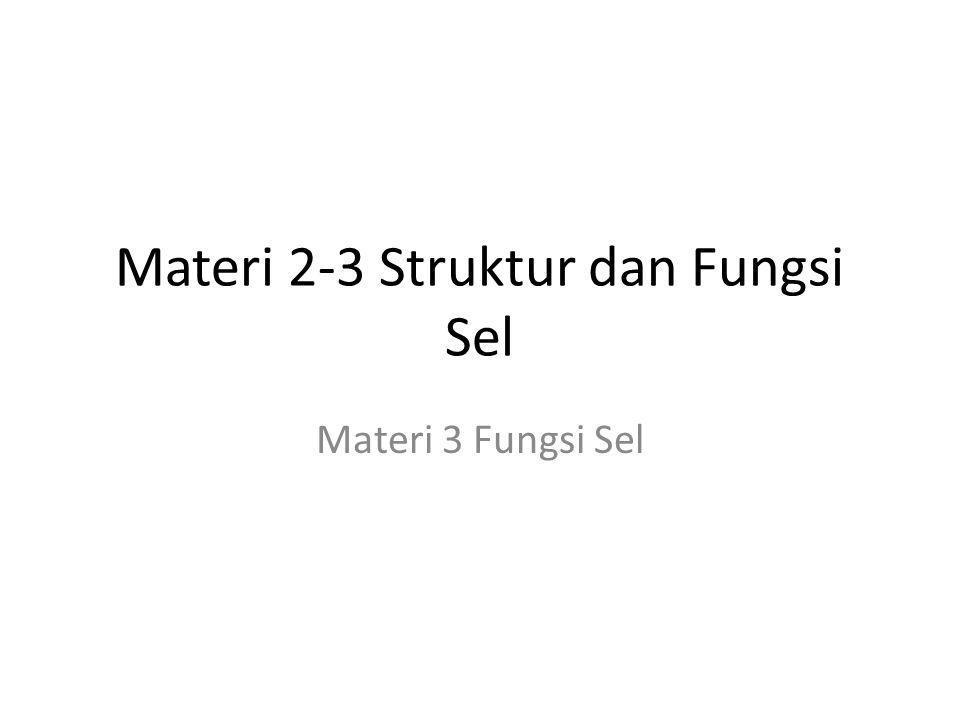 Materi 2-3 Struktur dan Fungsi Sel Materi 3 Fungsi Sel