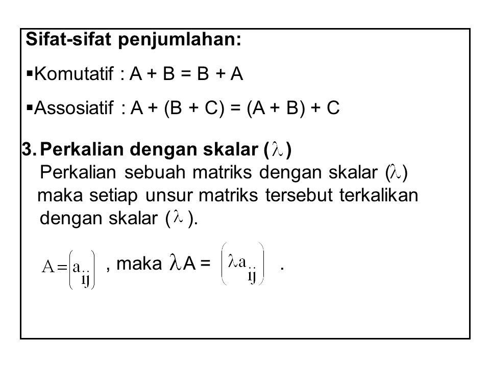 Sifat-sifat penjumlahan:  Komutatif : A + B = B + A  Assosiatif : A + (B + C) = (A + B) + C 3.Perkalian dengan skalar ( ) Perkalian sebuah matriks d