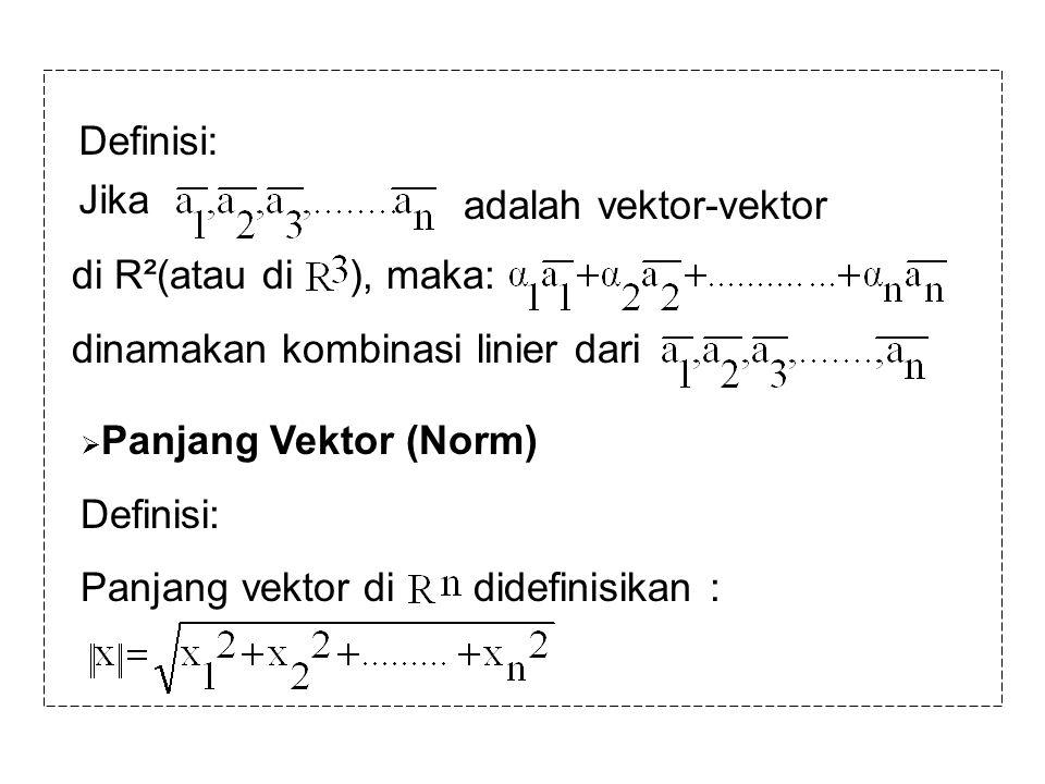 Definisi: Jika adalah vektor-vektor di R²(atau di ), maka: dinamakan kombinasi linier dari  Panjang Vektor (Norm) Definisi: Panjang vektor di didefin