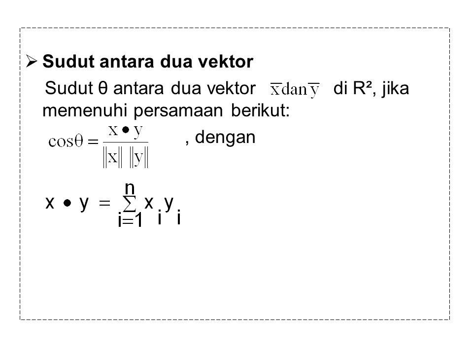  Sudut antara dua vektor Sudut θ antara dua vektor di R², jika memenuhi persamaan berikut:, dengan