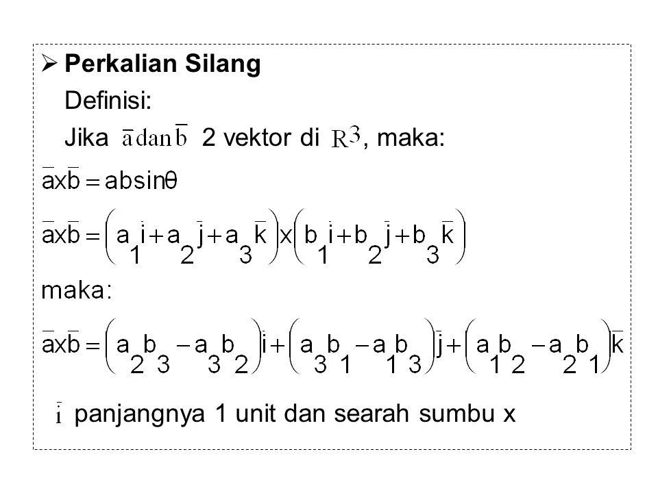  Perkalian Silang Definisi: Jika 2 vektor di, maka: panjangnya 1 unit dan searah sumbu x