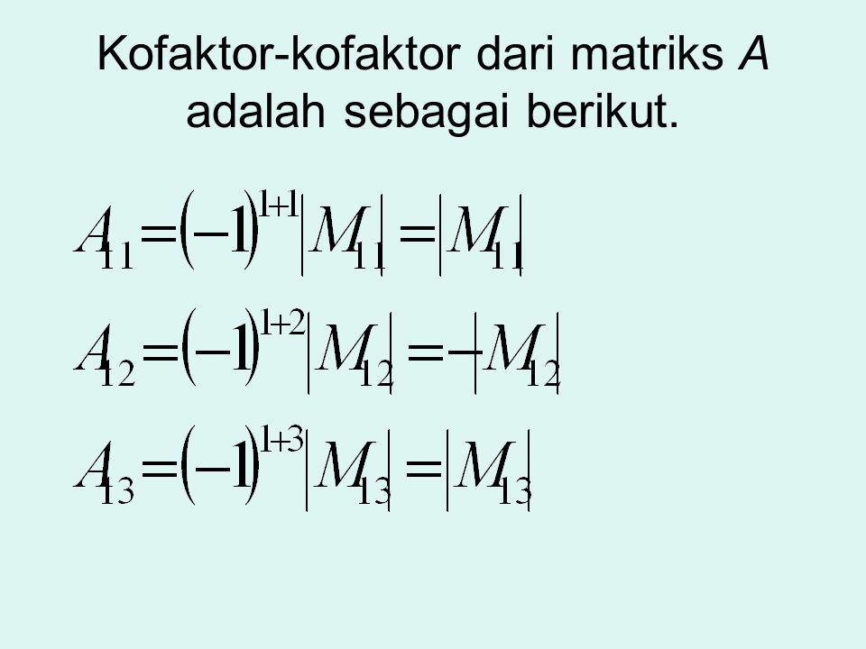 Kofaktor-kofaktor dari matriks A adalah sebagai berikut.