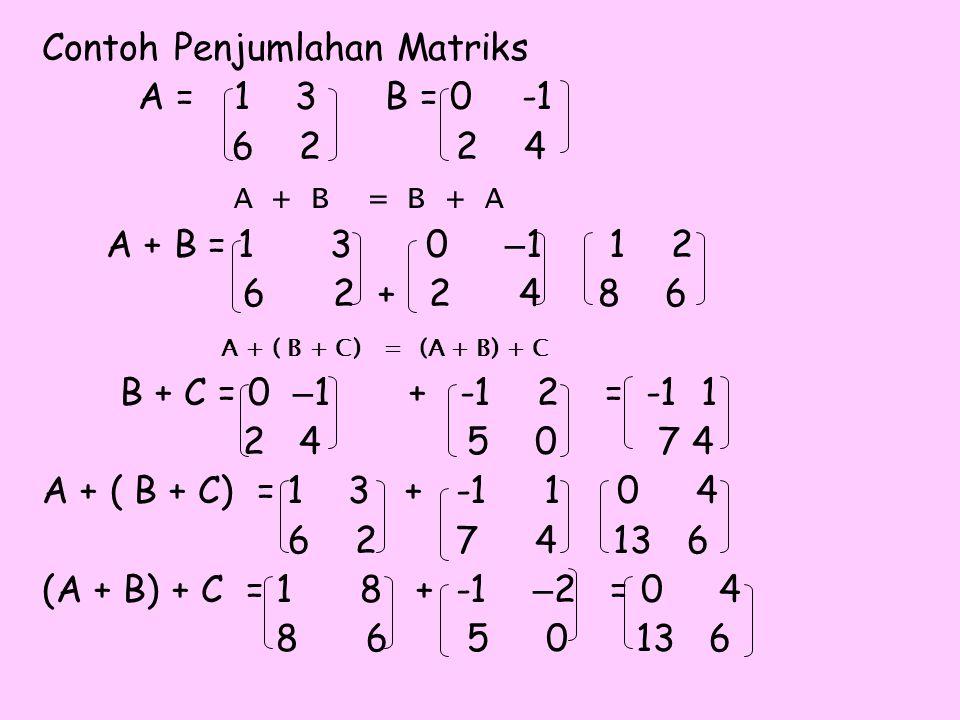 Contoh Penjumlahan Matriks A =1 3 B = 0-1 6 2 2 4 A + B = B + A A + B = 13 0 – 1 1 2 6 2 + 2 4 8 6 A + ( B + C) = (A + B) + C B + C = 0 – 1 + -1 2 = -