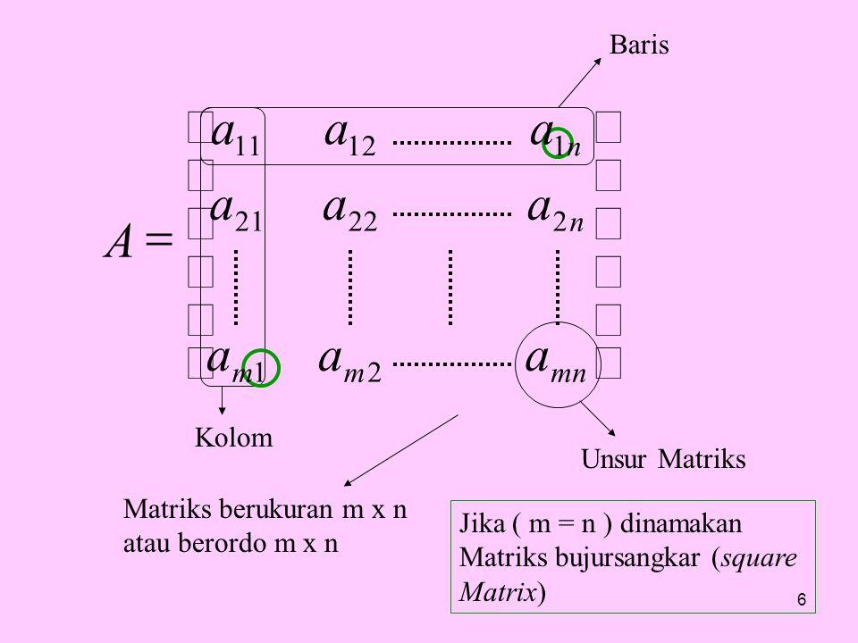 Baris Kolom Unsur Matriks Matriks berukuran m x n atau berordo m x n Jika ( m = n ) dinamakan Matriks bujursangkar (square Matrix) 6         