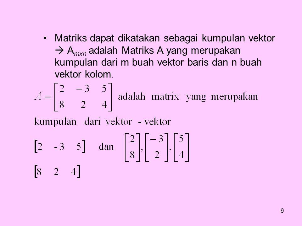 Matriks dapat dikatakan sebagai kumpulan vektor  A mxn adalah Matriks A yang merupakan kumpulan dari m buah vektor baris dan n buah vektor kolom. 9