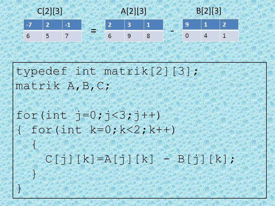 Transpose Matrik Transpose adalah elemen baris matriks akan menjadi kolom matriks dan sebaliknya kolom matriks akan menjadi baris matriks.