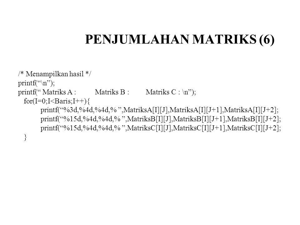 """PENJUMLAHAN MATRIKS (6) /* Menampilkan hasil */ printf(""""\n""""); printf("""" Matriks A : Matriks B : Matriks C : \n""""); for(I=0;I<Baris;I++){ printf(""""%3d,%4d"""