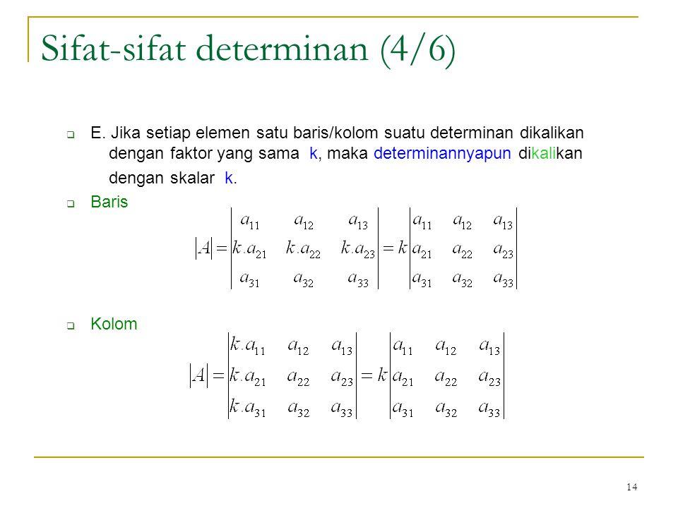 14  E. Jika setiap elemen satu baris/kolom suatu determinan dikalikan dengan faktor yang sama k, maka determinannyapun dikalikan dengan skalar k.  B