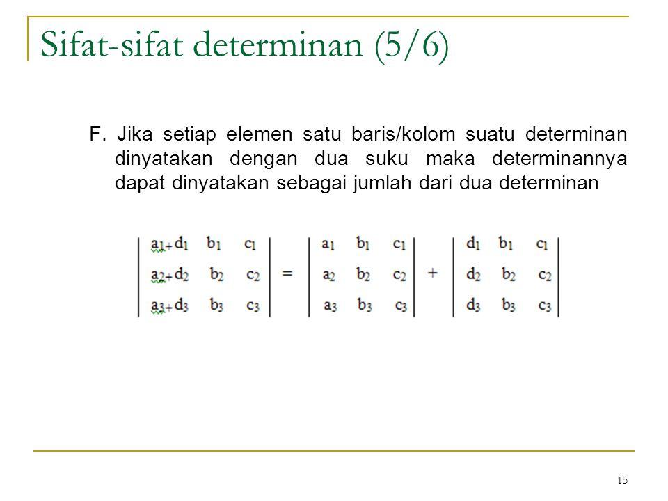 15 F. Jika setiap elemen satu baris/kolom suatu determinan dinyatakan dengan dua suku maka determinannya dapat dinyatakan sebagai jumlah dari dua dete