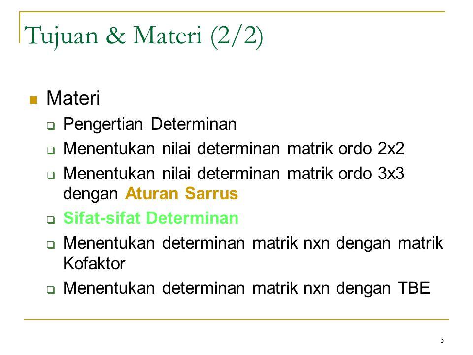 6 Determinant Merupakan suatu fungsi Syarat suatu matrik mempunyai determinan: matrik bujursangkar Lambang determinan matrik A adalah det(A) atau  A  Matrik ordo 2x2