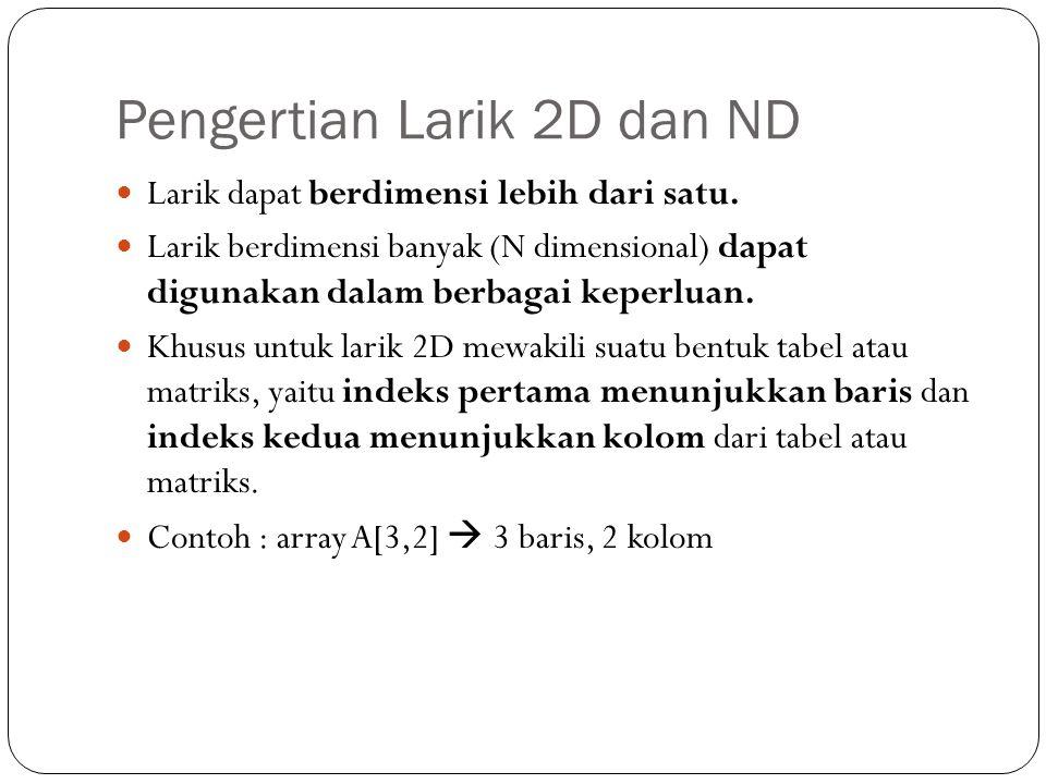 Pengertian Larik 2D dan ND Larik dapat berdimensi lebih dari satu. Larik berdimensi banyak (N dimensional) dapat digunakan dalam berbagai keperluan. K