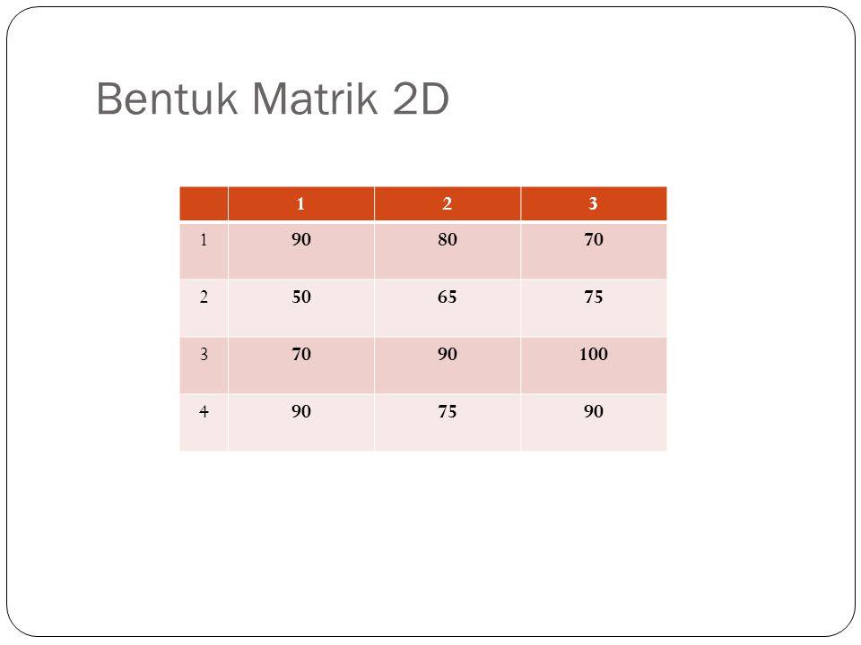 Bentuk Matrik 2D 123 1908070 2506575 37090100 4907590